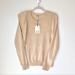 NWT Mo:Vint NY Taupe sweater with ruffle detail